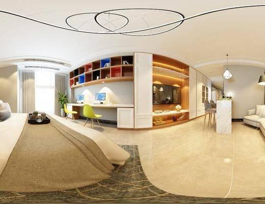 公寓, 多人沙发, 异形沙发, 落地灯, 装饰画, 挂画, 吧台, 吧椅, 单人椅, 吊灯, 装饰柜, 书桌, 双人床, 摆件, 装饰品, 陈设品, 现代简约