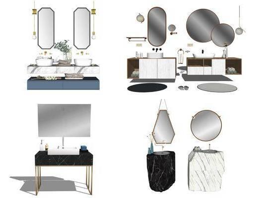 洗漱台, 浴室柜, 洗手盆, 壁镜