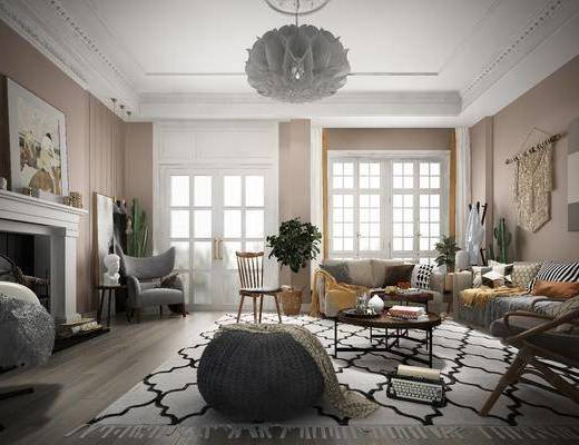 北欧沙发, 沙发组合, 沙发茶几组合, 单椅, 茶几, 盆栽