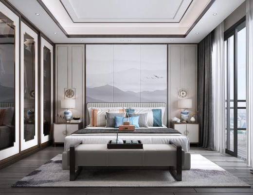 双人床, 床具组合, 背景墙, 衣柜