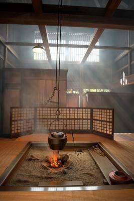 室内, 火炉, 篝火, 日式