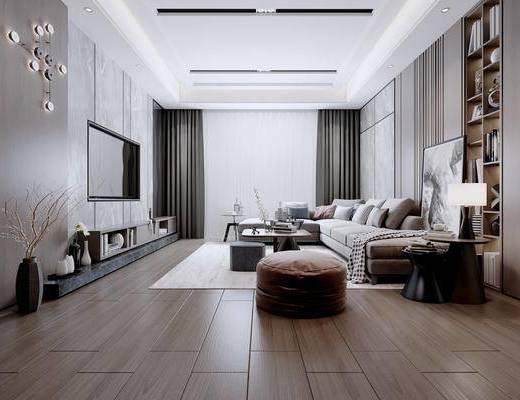 客厅, 沙发组合, 沙发茶几组合, 装饰柜组合, 摆件组合, 装饰品, 陈设品, 书籍, 装饰柜, 吊灯, 现代
