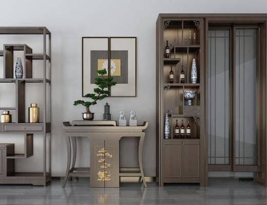 裝飾柜, 邊柜, 擺件組合, 置物柜, 裝飾畫