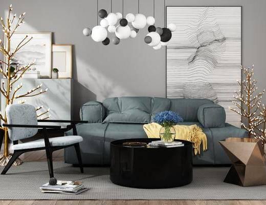 沙发茶几, 吊灯, 边几, 挂画, 装饰画, 现代