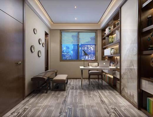 书房, 书桌, 单人椅, 古筝, 书柜, 书籍, 墙饰, 台灯, 装饰品, 陈设品, 新中式