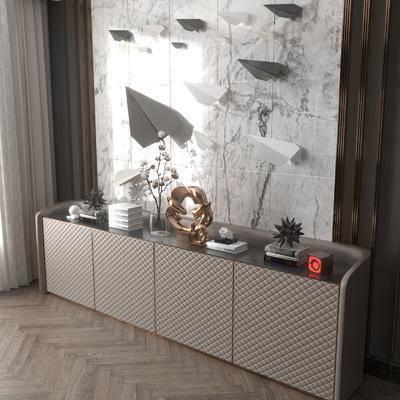边柜, 摆件, 墙饰, 现代