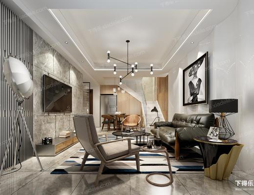 现代客厅, 沙发组合, 现代沙发, 装饰画, 吊灯, 椅子