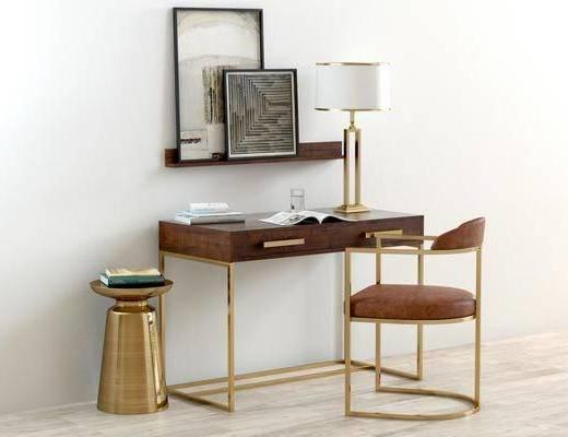 书桌椅, 台灯, 边几, 装饰画, 桌椅, 书桌, 椅子, 单椅, 休闲椅, 现代, 后现代