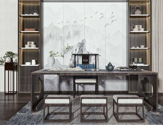 泡茶桌椅, 矮凳, 办公桌, 装饰柜, 摆件, 盆栽