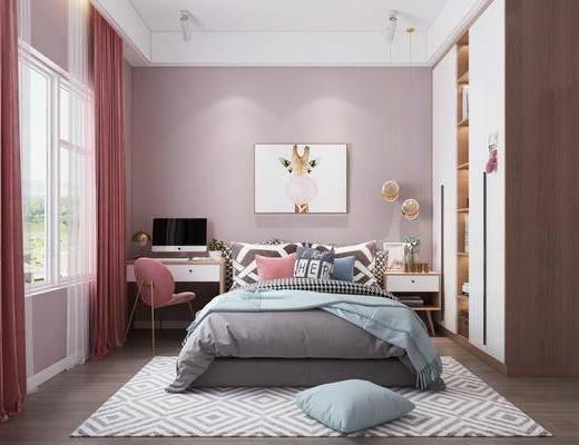 单人床, 床头柜, 书桌, 装饰画, 衣柜, 吊灯