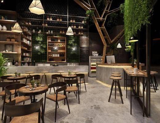 桌椅组合, 吊灯, 酒柜, 绿植墙, 吧台, 单椅