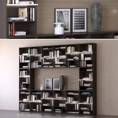 现代书柜装饰柜书籍摆件组合, 现代, 书柜, 装饰柜, 书籍