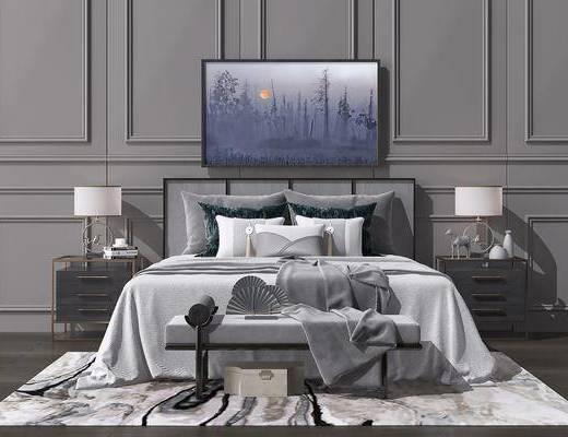 床具组合, 双人床, 床头柜, 台灯, 风景画, 床尾凳, 新中式