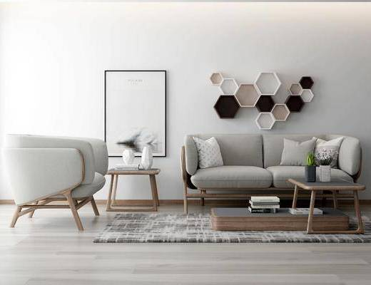 多人沙发, 茶几, 装饰画, 挂画, 墙饰, 边几, 单人沙发, 摆件, 装饰品, 陈设品, 北欧