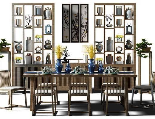 酒架, 装饰架, 隔断, 隔断柜, 餐桌, 桌椅组合, 餐桌椅, 盆景, 植物, 新中式, 中式, 餐具, 花瓶