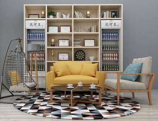 沙发组合, 多人沙发, 单人沙发, 茶几, 双人沙发, 装饰柜, 书柜, 装饰品, 陈设品, 荣誉证书, 现代