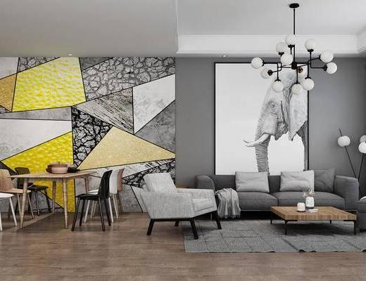 客厅, 沙发组合, 沙发茶几组合, 北欧沙发, 现代沙发, 餐桌椅