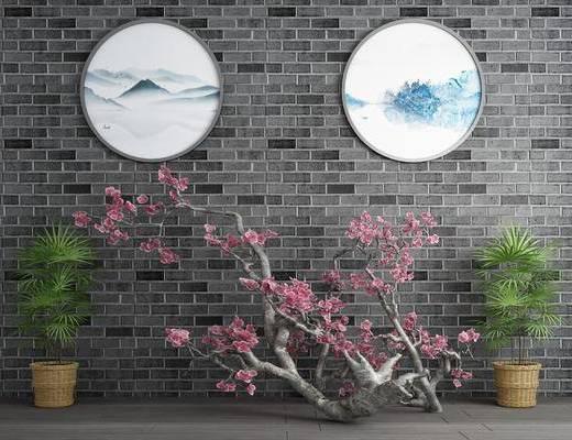 梅花干枝, 花瓶花卉, 竹子盆栽, 圆框画, 新中式
