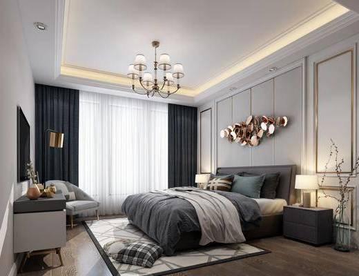 现代卧室, 卧室, 床具, 吊灯, 墙饰, 床头柜, 台灯, 现代台灯, 边柜, 落地灯, 椅子, 窗帘