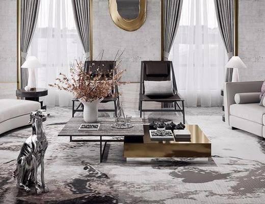 沙发组合, 墙饰, 单椅, 茶几, 摆件组合