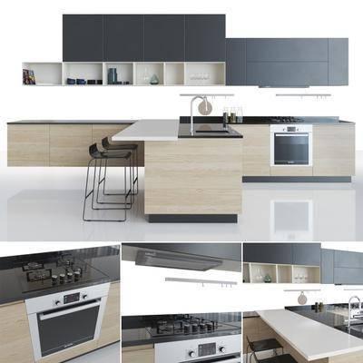 橱柜, 餐桌, 餐椅, 厨具, 餐具, 洗手台, 装饰品, 现代