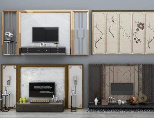背景墙, 电视, 电视柜, 端景台, 摆件, 装饰品, 墙饰, 新中式