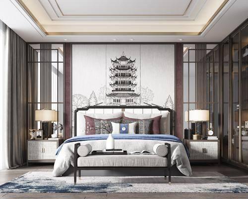 双人床, 背景墙, 床头柜, 台灯, 衣柜, 床尾踏