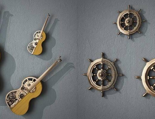 墙饰, 挂件, 吉他, 创意, 挂饰, 现代, 工业风
