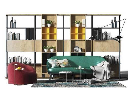 多人沙发, 皮革沙发, 单人沙发, 装饰柜, 摆件, 落地灯, 现代