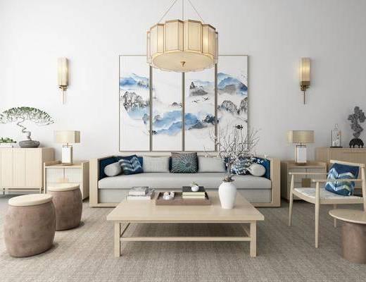 沙发组合, 茶几, 摆件组合, 新中式沙发茶几组合, 单椅, 边柜