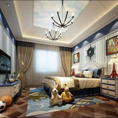 地中海卧室儿童房, 地中海, 地中海儿童房, 床, 地中海床头柜, 台灯, 玩具, 玩偶