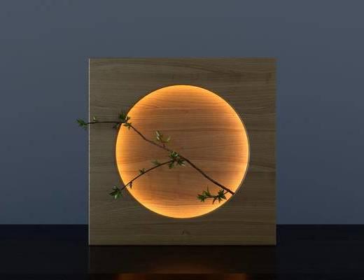 新中式, 背景灯, LED灯, 树枝, 植物
