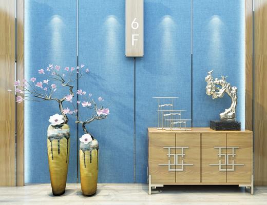 玄关柜, 电视柜, 端景柜, 花瓶, 花卉, 边柜, 装饰品, 陈设品, 新中式