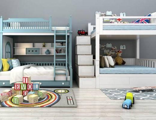 地中海上下床, 地中海子母床, 玩具, 玩偶, 兒童房, 兒童床