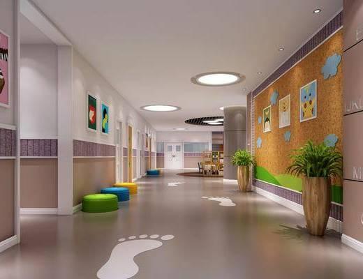幼儿园, 凳子, 装饰画, 挂画, 单人椅, 桌子, 装饰柜, 装饰架, 书籍, 装饰品, 陈设品, 现代