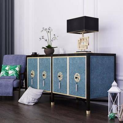 装饰柜, 台灯, 单人椅, 摆件, 新中式