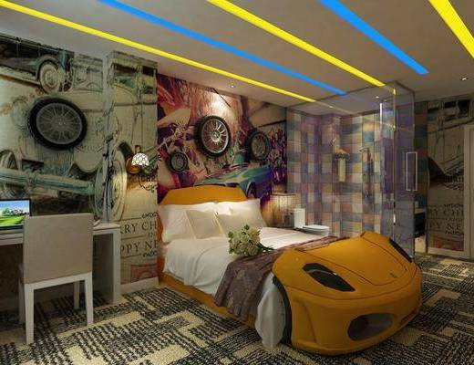 汽车主题房, 酒店客房, 单人椅, 电脑桌, 墙饰, 花洒, 壁灯, 马桶, 现代