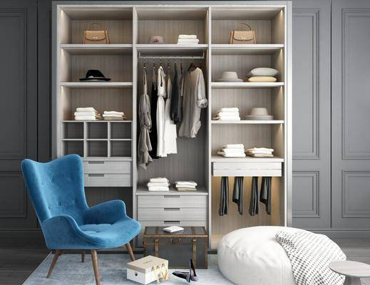 衣柜, 装饰柜, 服饰, 单人椅, 脚踏沙发, 现代