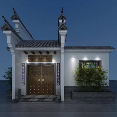 徽派門頭, 門面門頭, 綠植植物, 中式