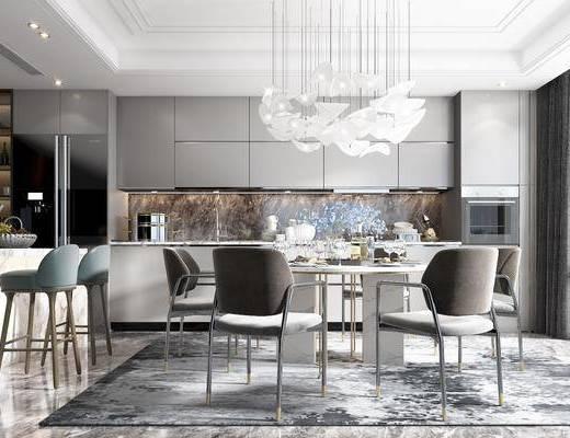 吧台, 吧椅, 餐桌, 餐椅, 吊灯, 酒柜, 冰箱, 橱柜, 装饰品