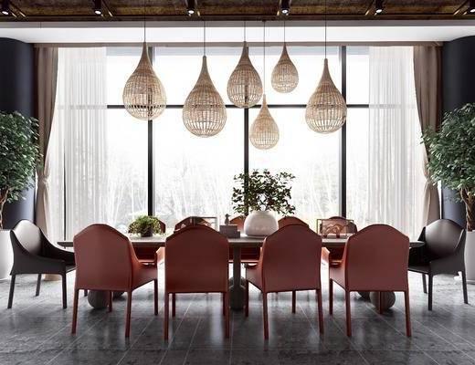 桌椅組合, 吊燈, 盆栽植物