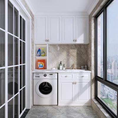 阳台, 简欧阳台, 洗衣机, 洗手台, 柜架组合