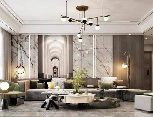 沙发组合, 茶几, 吊灯, 装饰画, 摆件组合, 落地灯