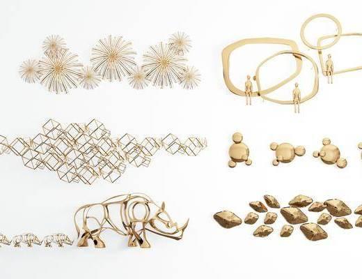 金属墙饰, 墙饰组合, 挂件, 装饰品组合, 现代