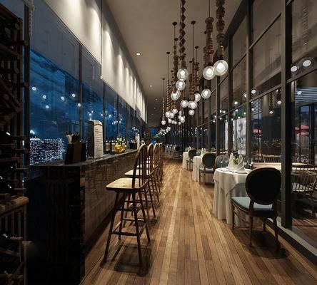 现代, 餐厅, 吧椅, 餐桌椅, 灯具