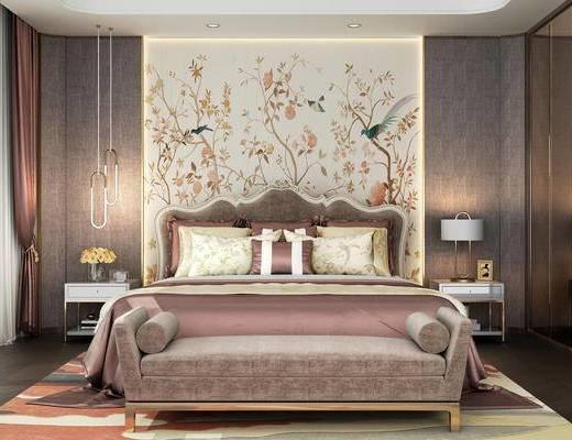 床具组合, 新中式, 卧室, 床, 吊灯, 床头柜, 床尾凳, 台灯