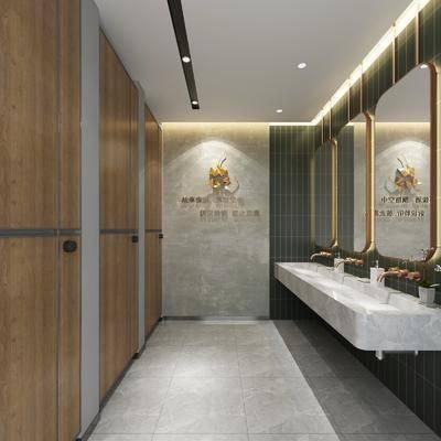 公共厕所, 洗手盆, 墙饰