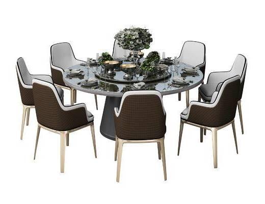 餐桌椅, 桌椅组合, 椅子, 桌子, 餐具, 花瓶, 单椅