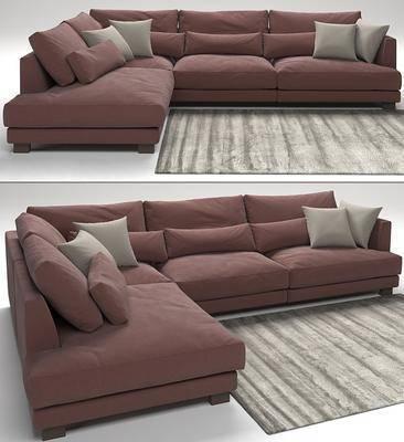 多人沙发, 转角沙发, 布艺, 抱枕, 地毯, 现代