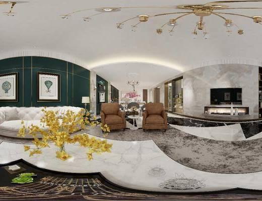 客厅, 餐厅, 家装全景, 餐桌, 餐椅, 单人椅, 多人沙发, 单人沙发, 茶几, 双人沙发, 摆件, 装饰品, 陈设品, 壁灯, 装饰画, 挂画, 吊灯, 现代轻奢